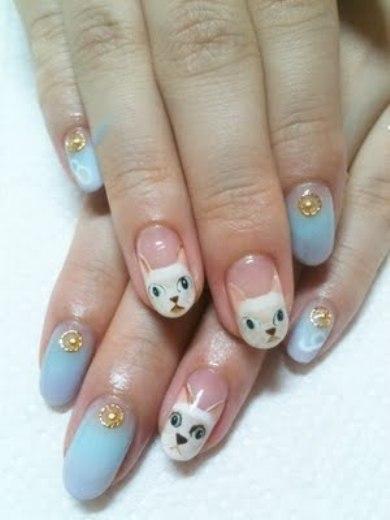 как нарисовать на ногтях кошку